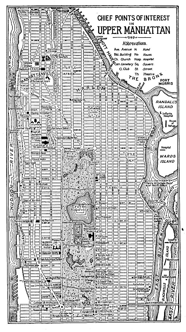 Historical Maps of U.S Cities. New York City (Upper Manhattan), New York 1920 Automobile Blue Book (429K)