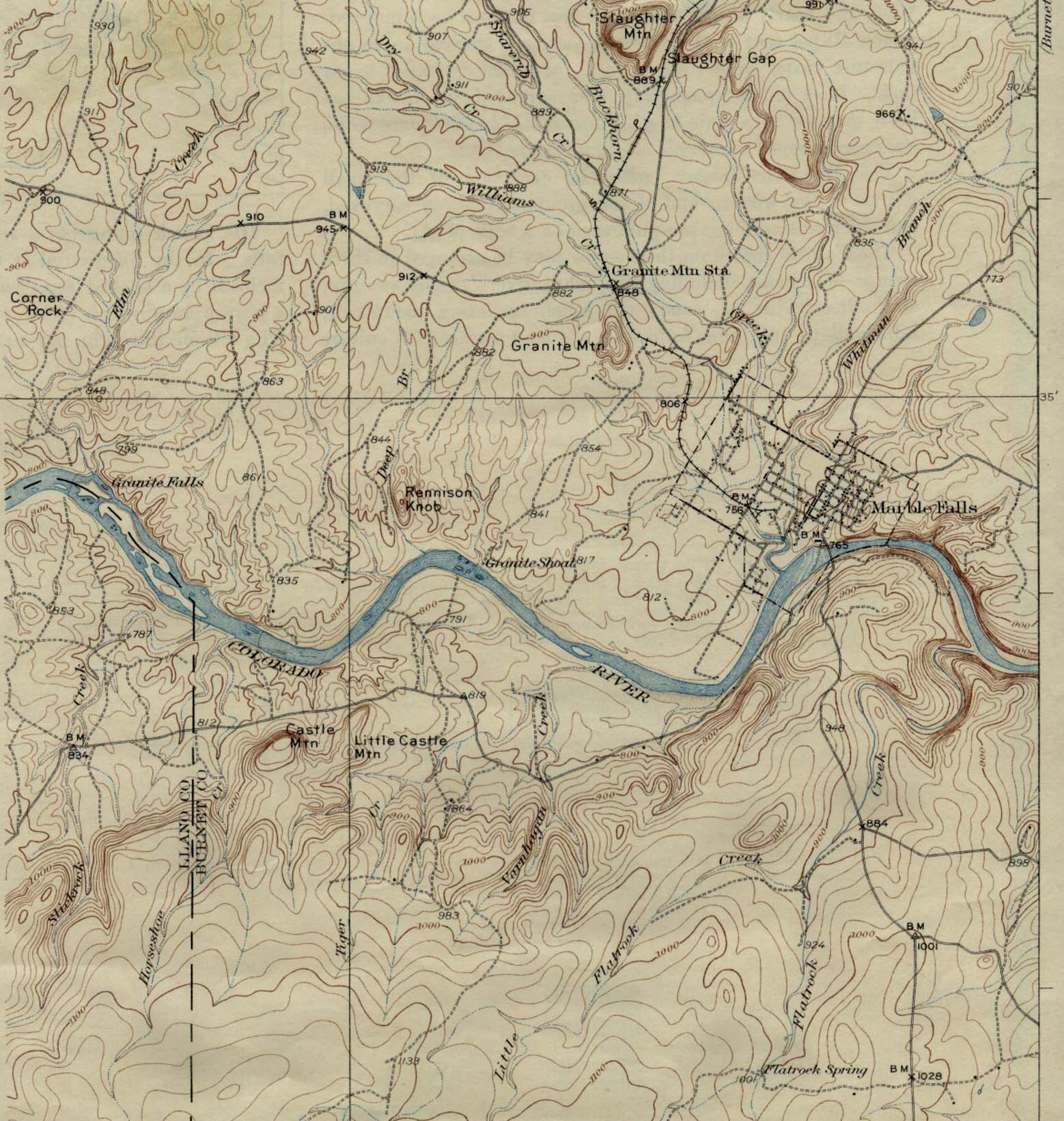 Historical Maps of U.S Cities. Marble Falls, Texas 1929 Original Scale 1:62,500 U.S. Geological Survey 1929. (389K)