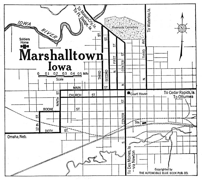Historical Maps of U.S Cities. Marshalltown, Iowa 1919 Automobile Blue Book (117K)