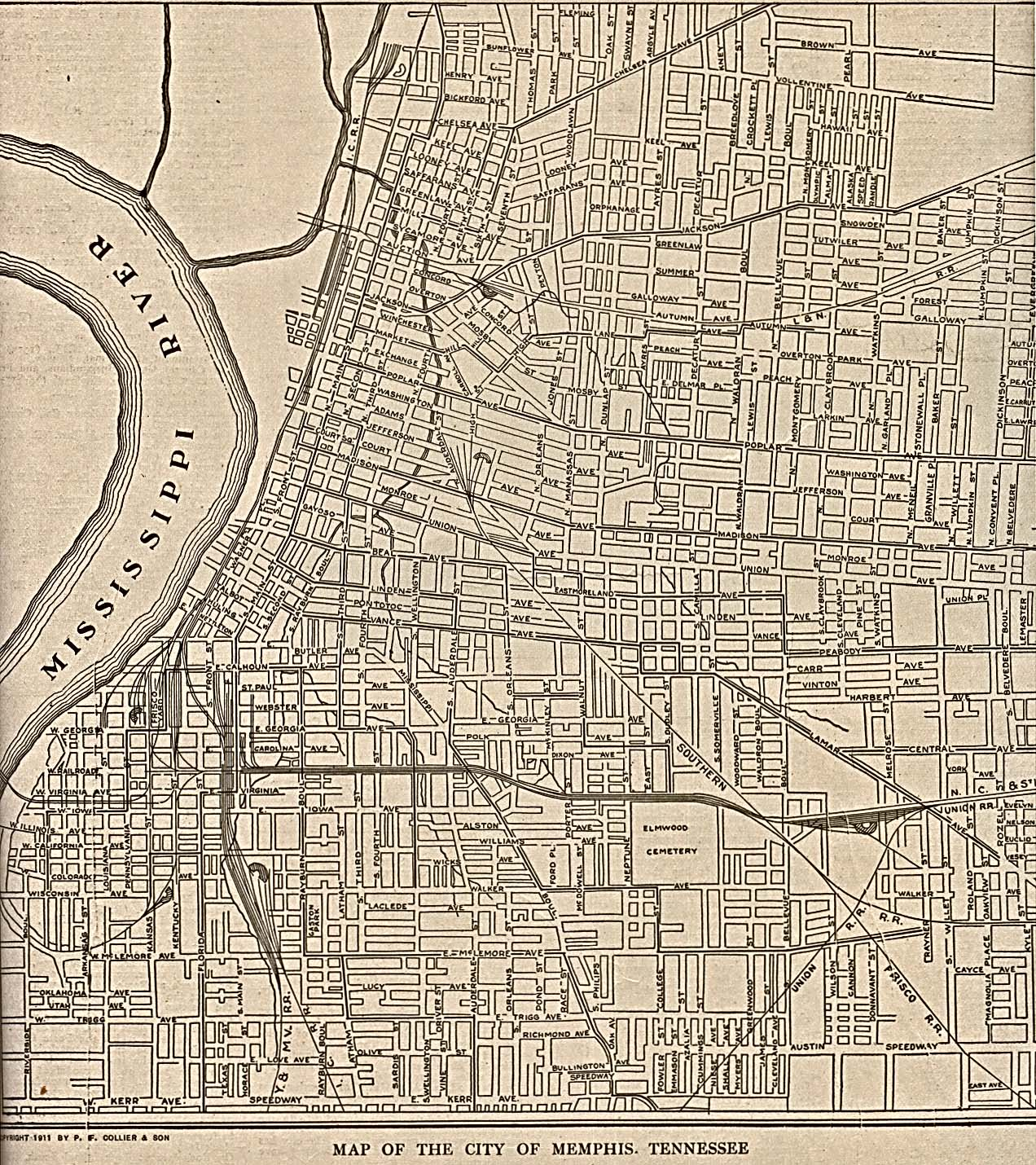 Historical Maps of U.S Cities. Memphis Tennessee 1911 The New Encyclopedic Atlas and Gazetteer of the World. New York: P.F. Collier & Son, 1917 (645K)