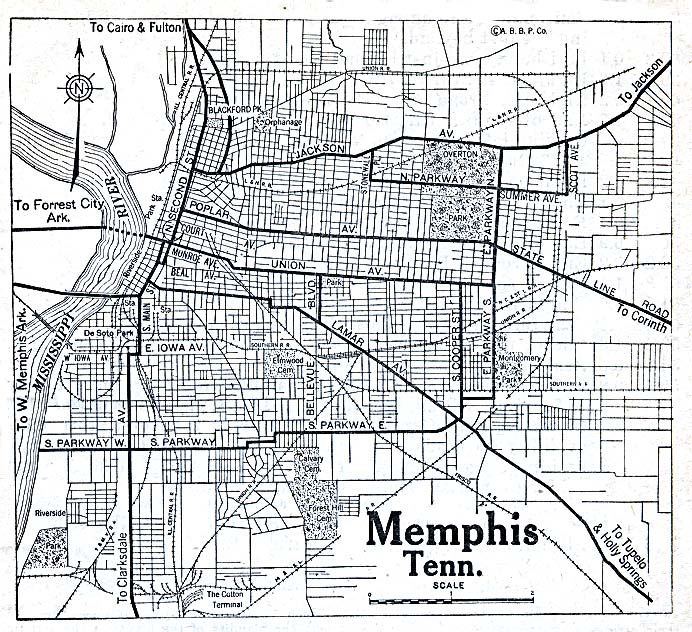 Historical Maps of U.S Cities. Memphis, Tennessee 1920 Automobile Blue Book (204K)