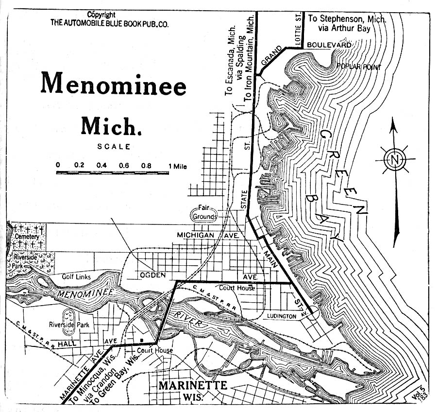 Historical Maps of U.S Cities. Menominee, Michigan 1919 Automobile Blue Book (254K)