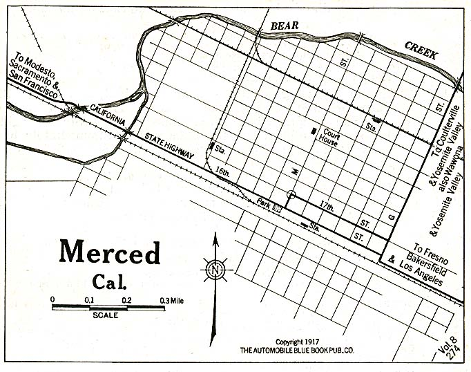 Historical Maps of U.S Cities. Merced, California 1917 Automobile Blue Book (128K)