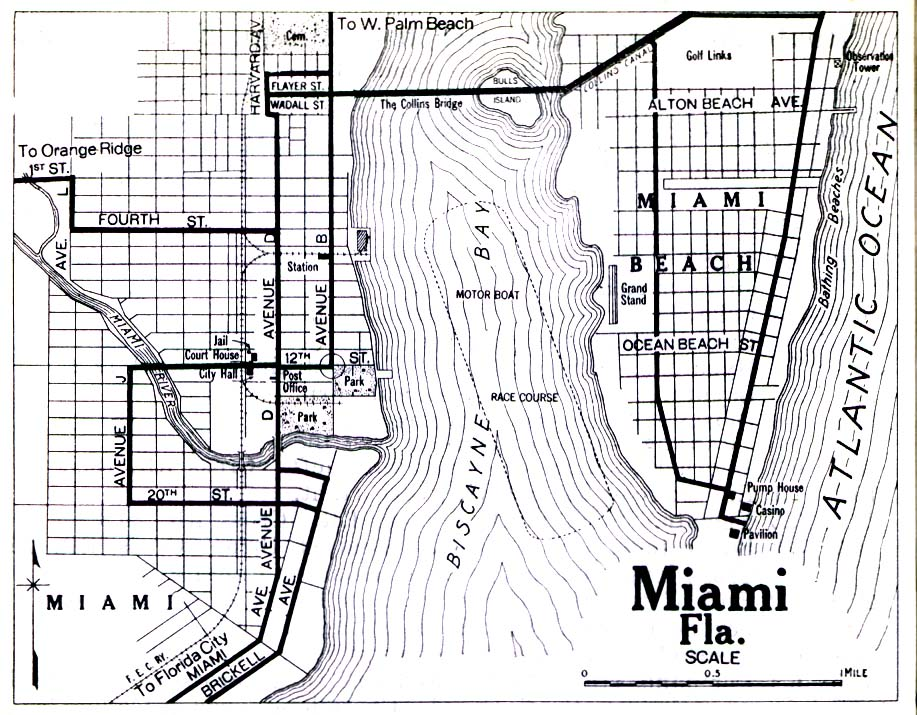 Historical Maps of U.S Cities. Miami, Florida 1919 Automobile Blue Book (258K)