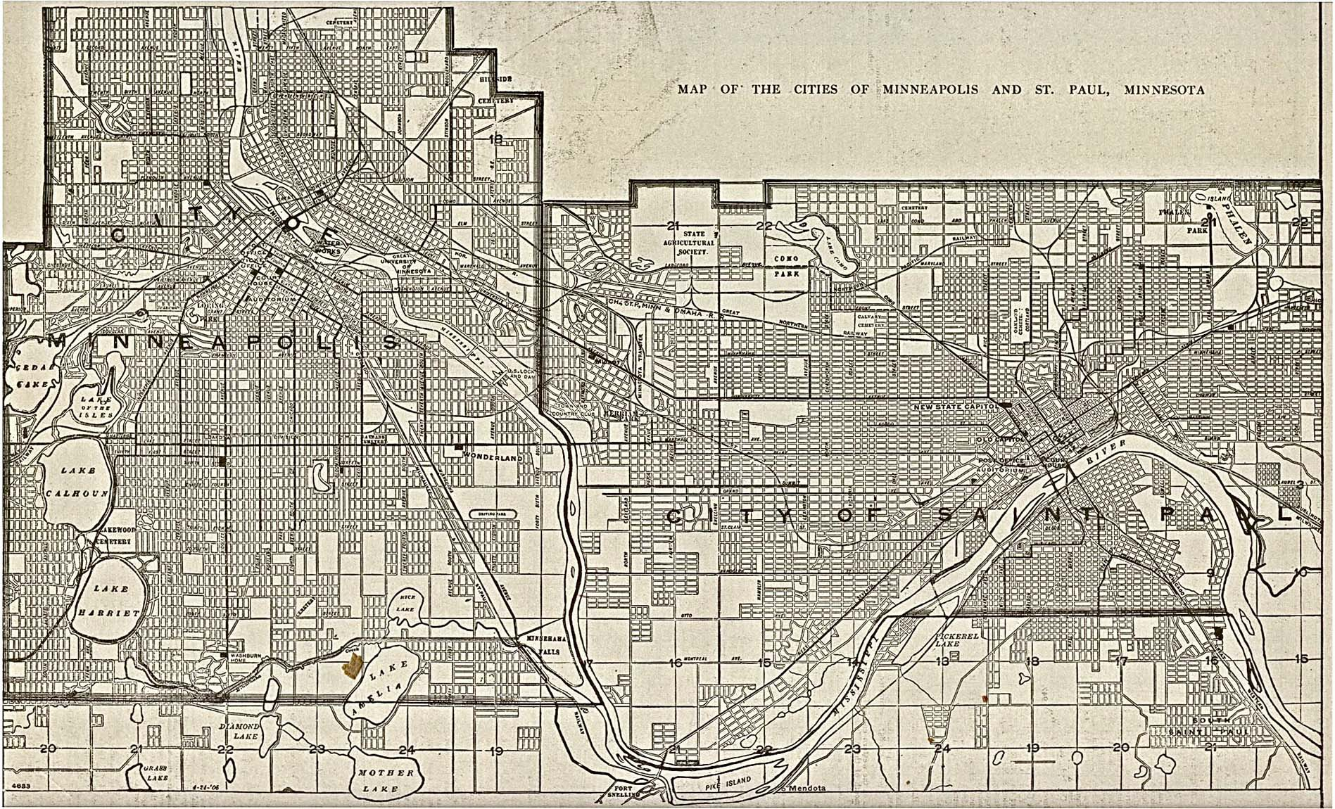 Historical Maps of U.S Cities. Minneapolis, Minnesota The New Encyclopedic Atlas and Gazetteer of the World. Edited and Revised by Francis J. Reynolds, 1917 (774K)