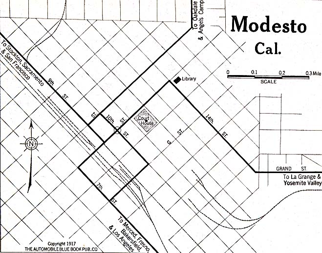 Historical Maps of U.S Cities. Modesto, California 1917 Automobile Blue Book (119K)