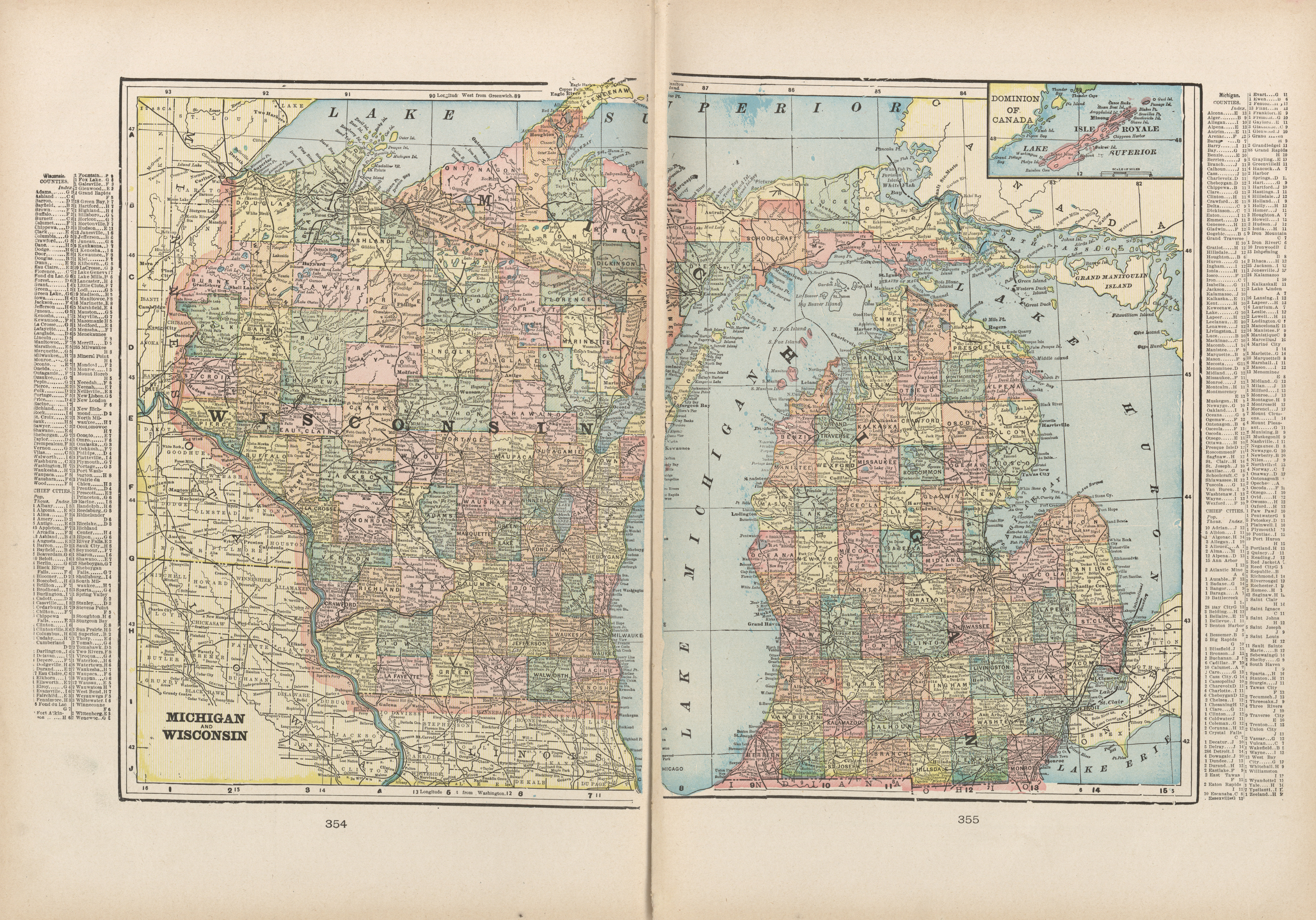 Maps from the monarch standard atlas perry castaeda map michigan and wisconsin gumiabroncs Gallery