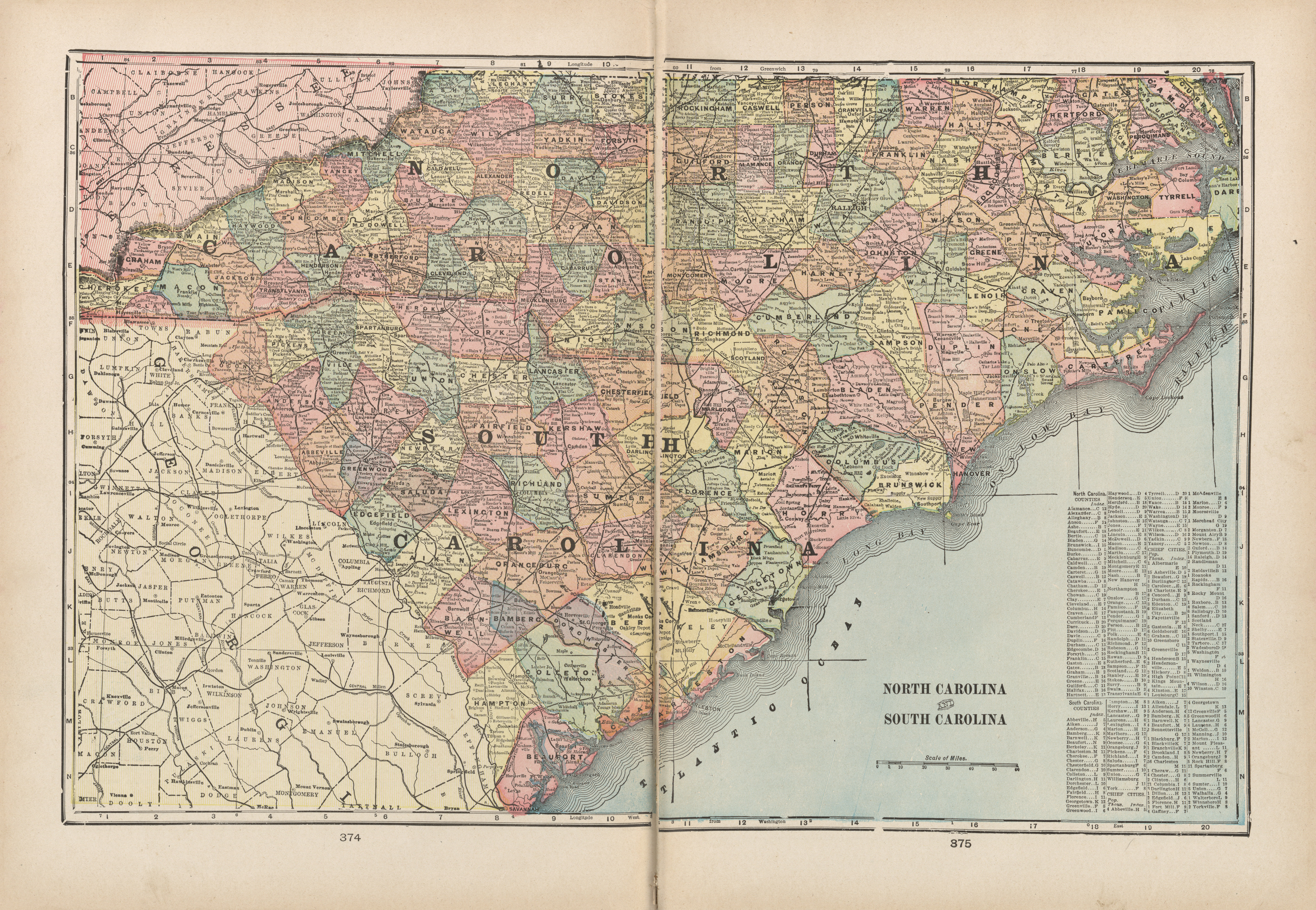 Maps from the monarch standard atlas perry castaeda map north carolina and south carolina gumiabroncs Image collections