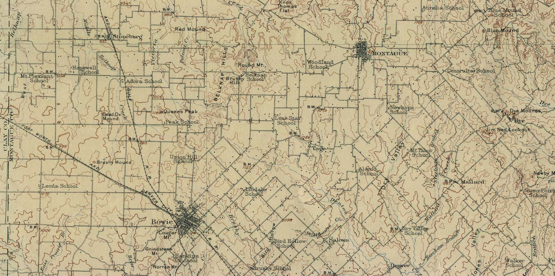 Historical Maps of U.S Cities. Montague, Texas 1905 Original Scale 1:125,000 U.S. Geological Survey 1905. (359K)