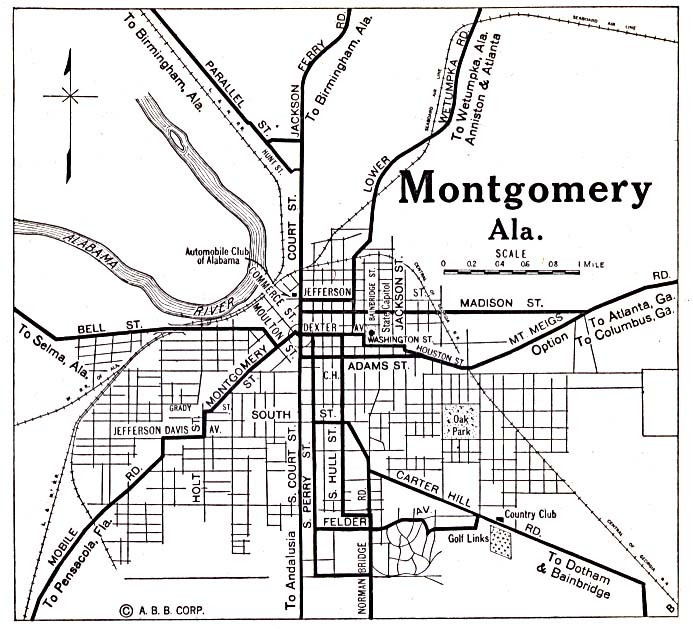 Historical Maps of U.S Cities. Montgomery, Alabama 1920 Automobile Blue Book (137K)