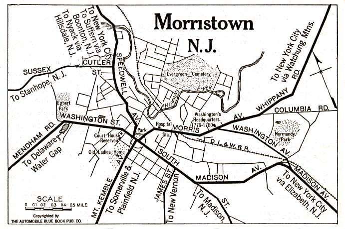 Historical Maps of U.S Cities. Morristown, New Jersey 1920 Automobile Blue Book (117K)