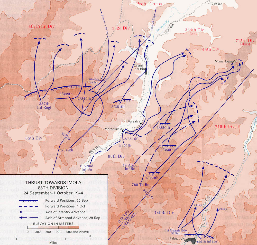 World war ii maps perry castaeda map collection ut library online north apennines thrust towards imola 88th division 24 september 1 october 1944 gumiabroncs Choice Image