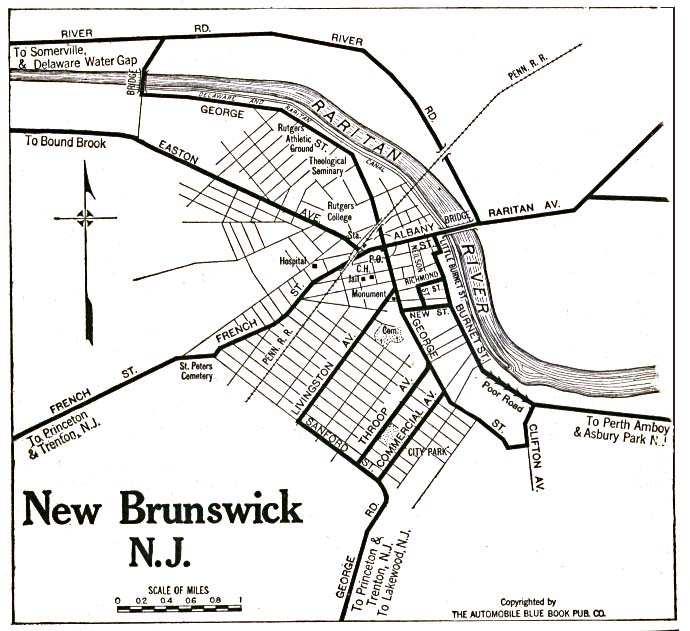 Historical Maps of U.S Cities. New Brunswick, New Jersey 1920 Automobile Blue Book (117K)
