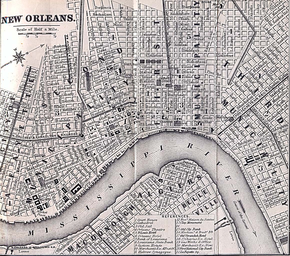 New Orleans City Map Map of New Orleans 1869