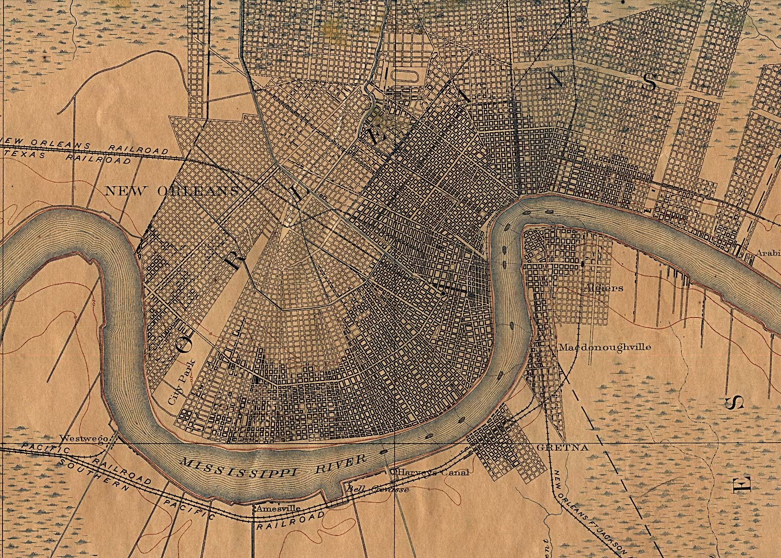 Historical Maps of U.S Cities. New Orleans, Louisiana 1891 U.S. Geological Survey (740K)