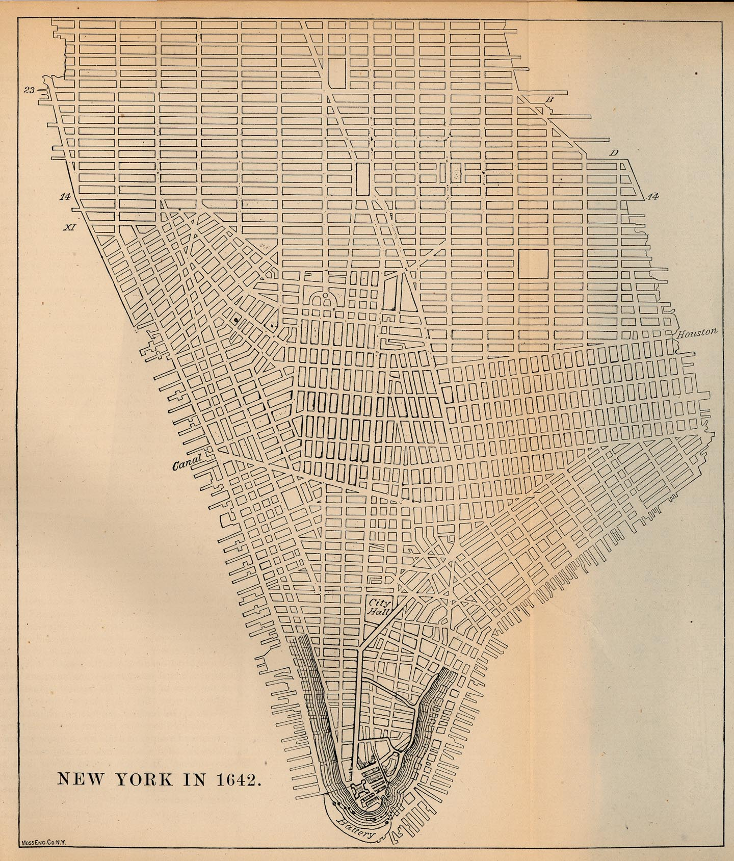 1642 Map New York City Ny