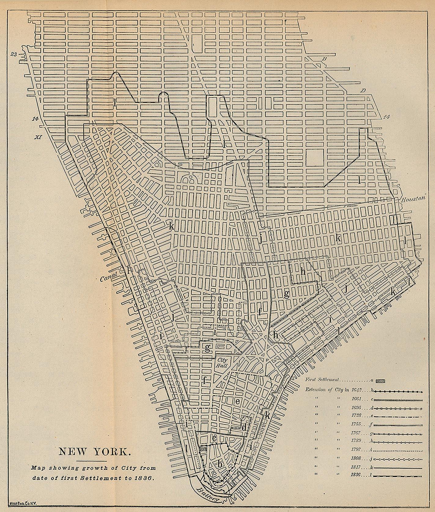 New York City First Settlement 1836 Map