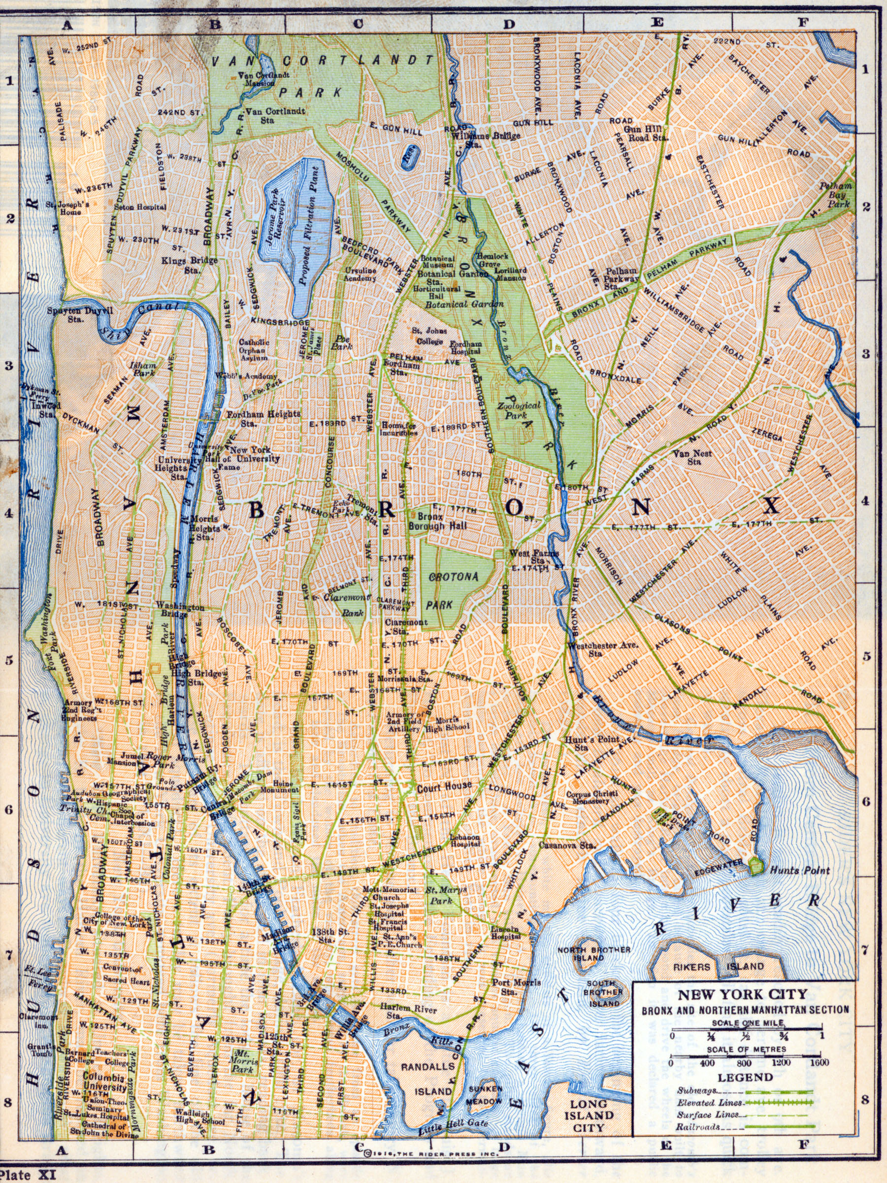 Map of the Bronx and Upper Manhattan in New York City Rider Press