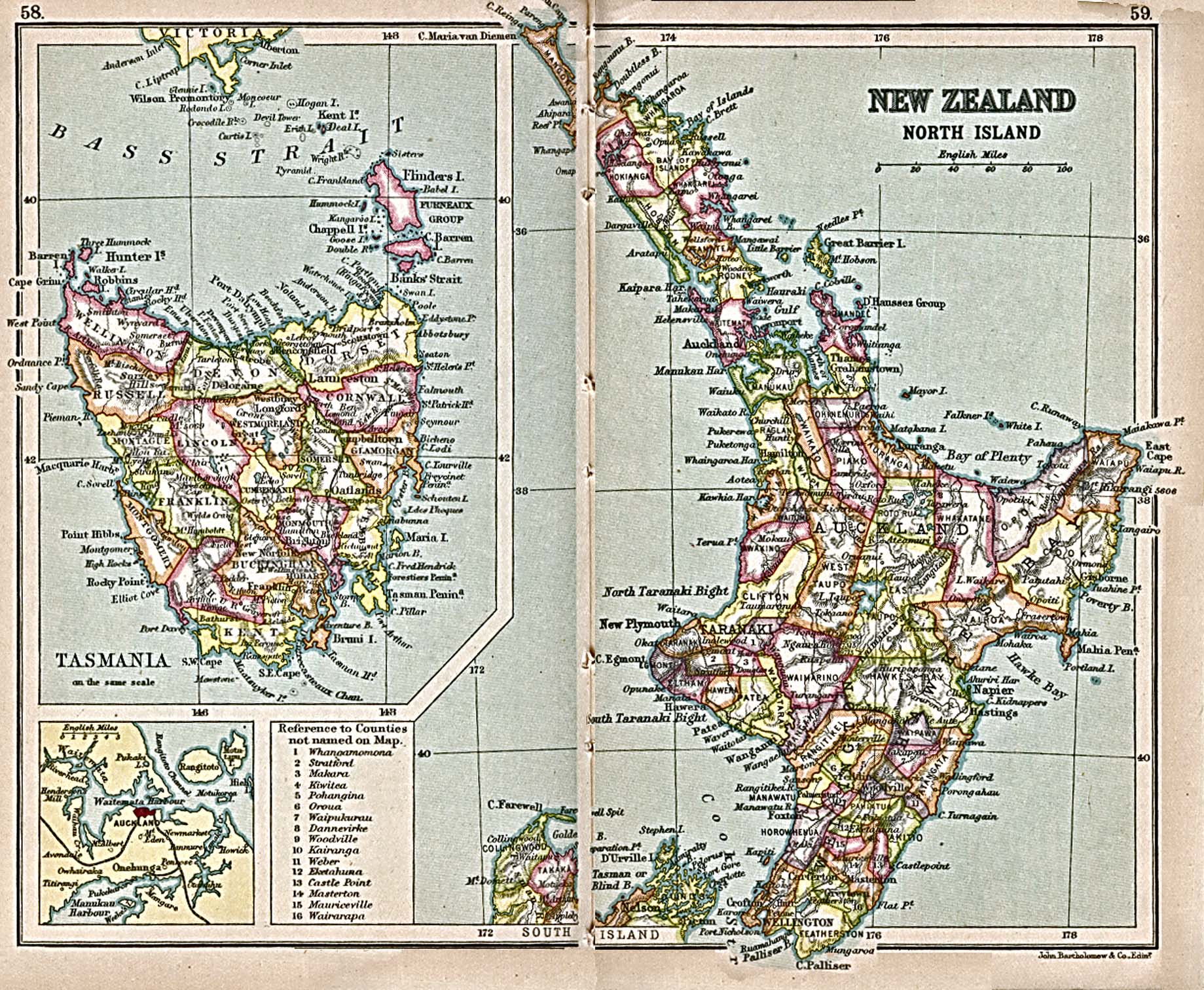 "Historical Maps of Australia and the Pacific. Tasmania 1913 (514K)""New Zealand, North Island"" and ""Tasmania"" from A Literary and Historical Atlas of Africa and Australasia, by J.G. Bartholomew. 1913"