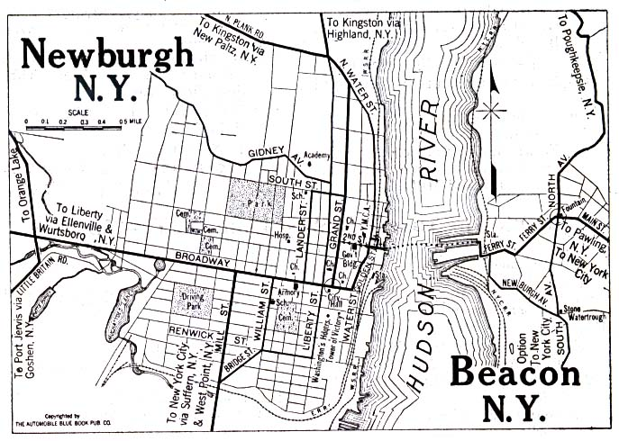 Historical Maps of U.S Cities. Newburgh and Beacon, New York 1920 Automobile Blue Book (137K)