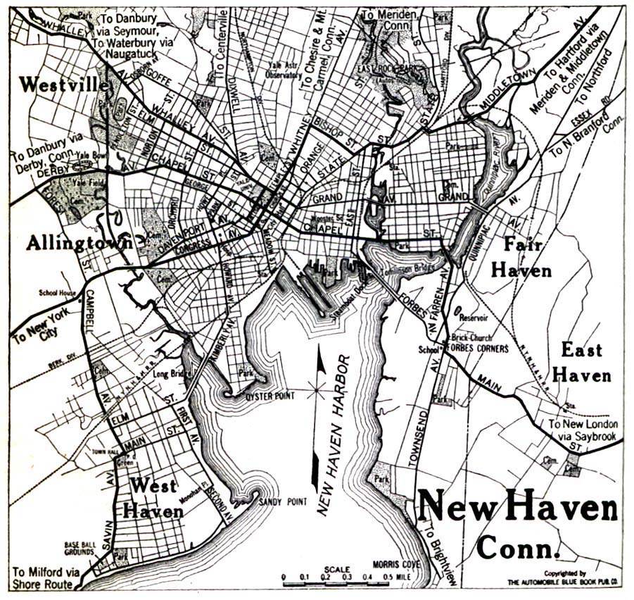Historical Maps of U.S Cities. New Haven, Connecticut 1920 Automobile Blue Book (323K)