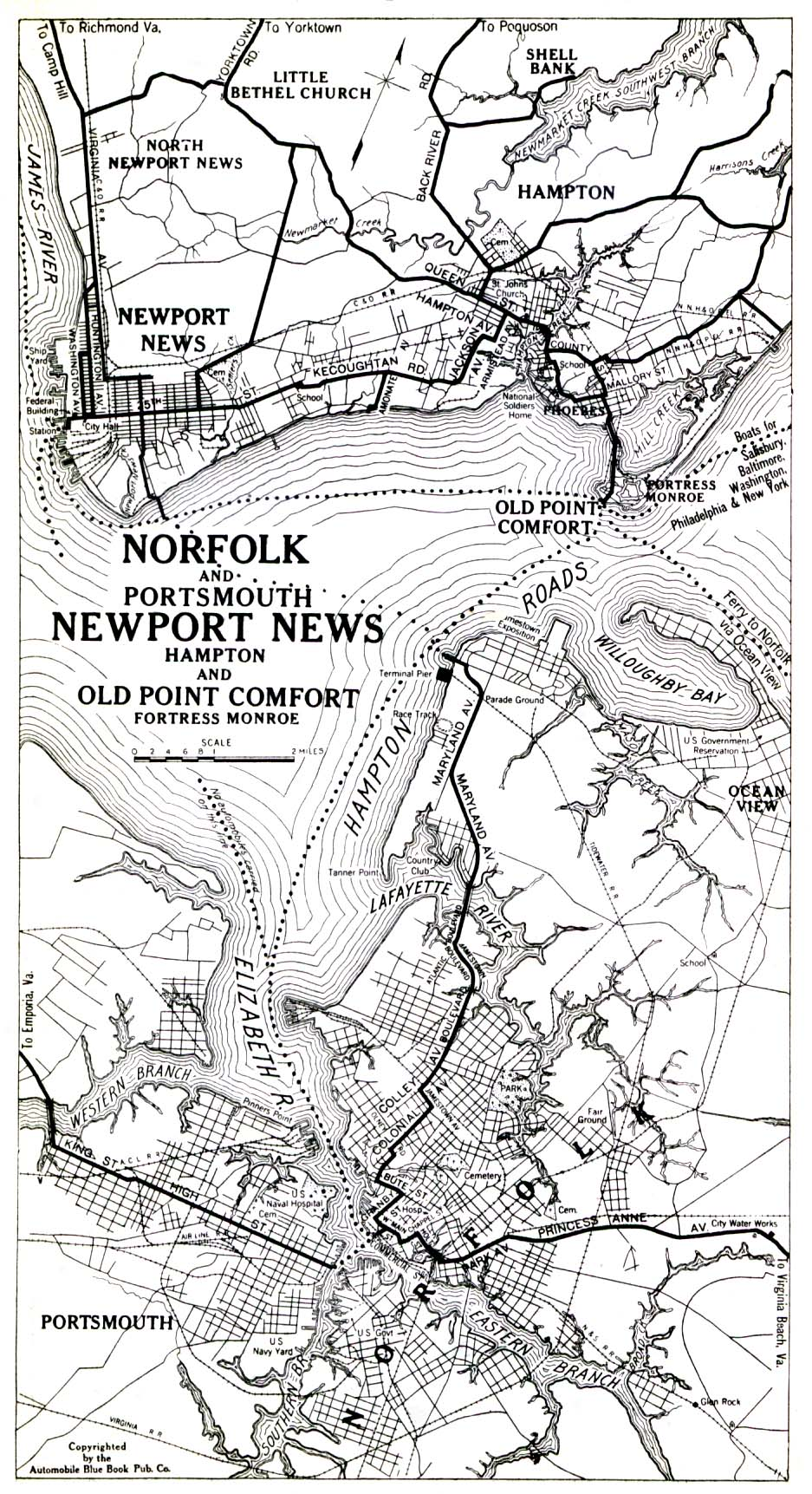 Norfolk And Portsmouth Newport News Hampton And Old Point Comfort Fortress Monroe 1919 Note Us Navy