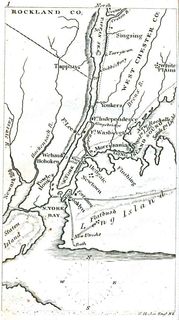 Historical Maps of U.S Cities. New York City Region, New York 1830 The Northern Traveller, and Northern Tour. Fourth Edition. New York: J. & J. Harper 1830 (117K)