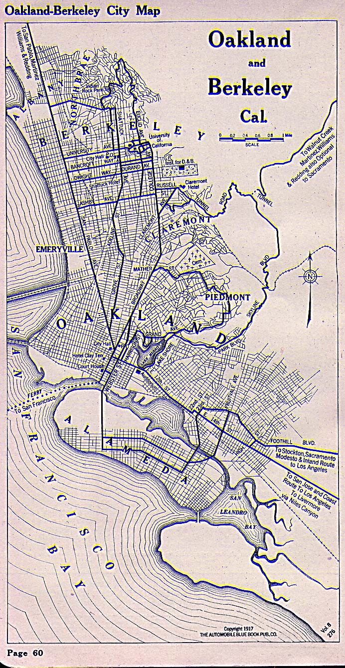 Historical Maps of U.S Cities. Oakland, California 1917 Automobile Blue Book (451K)