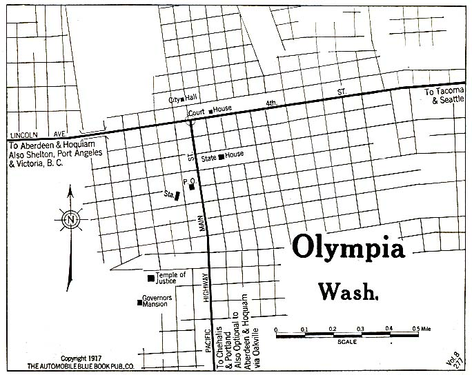 Historical Maps of U.S Cities. Olympia, Washington 1917 Automobile Blue Book (117K)