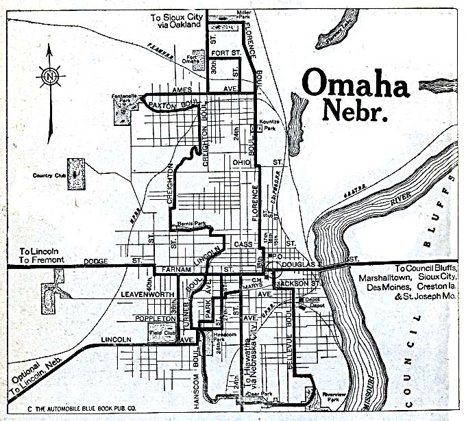 Historical Maps of U.S Cities. Omaha, Nebraska 1920 Automobile Blue Book (162K)