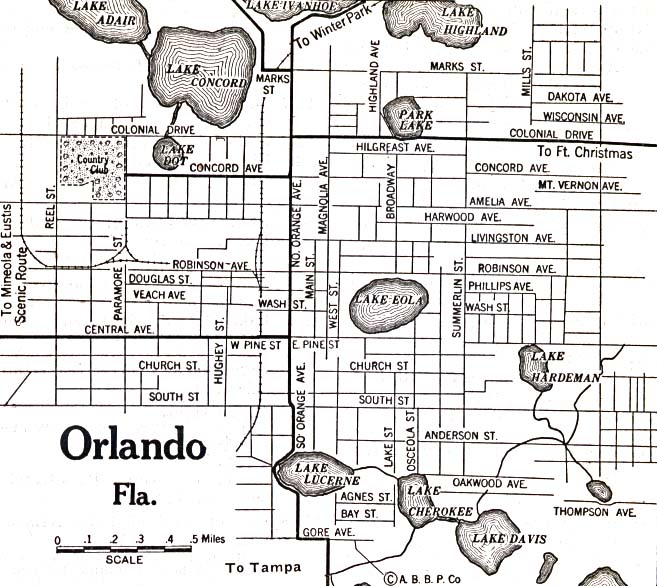 Historical Maps of U.S Cities. Orlando, Florida 1920 Automobile Blue Book (137K)