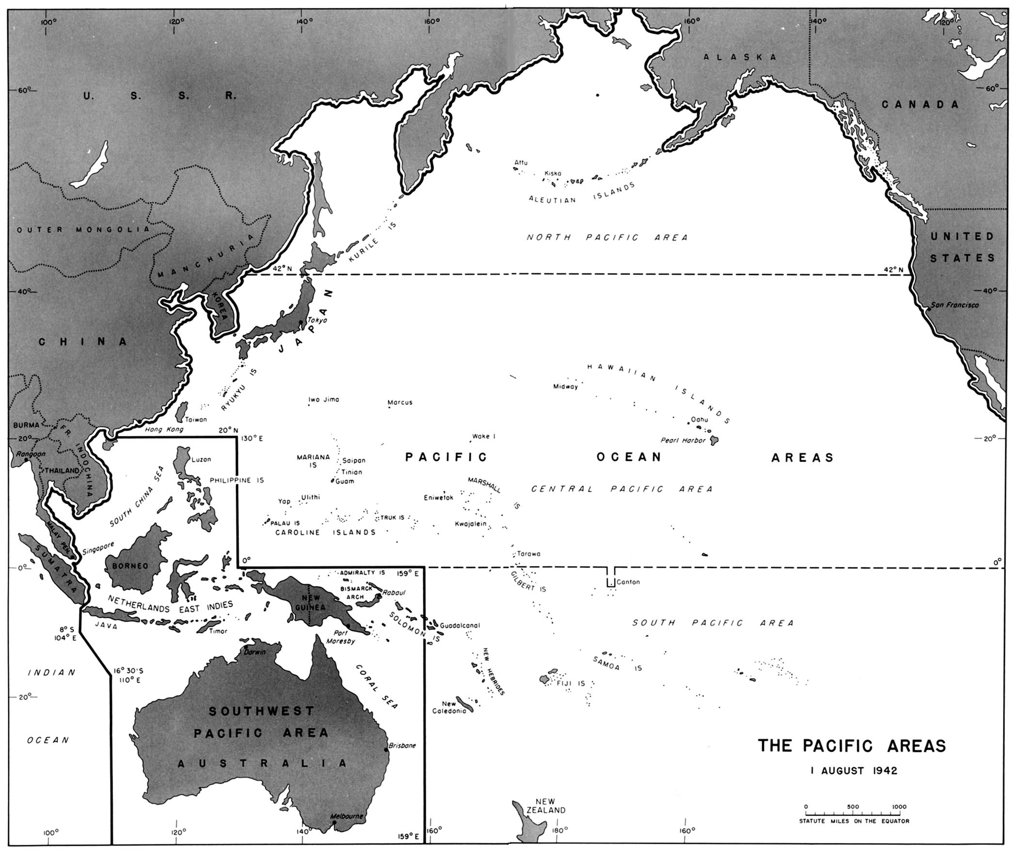 World war ii maps perry castaeda map collection ut library online pacific areas 1 august 1942 from american military history gumiabroncs Image collections