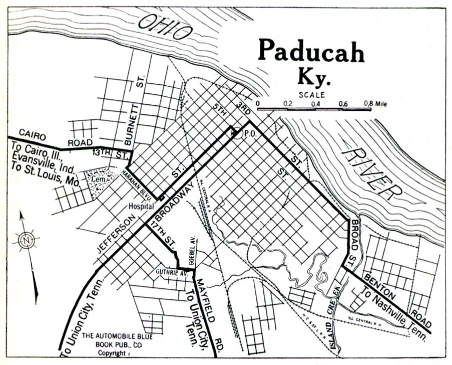Historical Maps of U.S Cities. Paducah, Kentucky 1919 Automobile Blue Book (258K)