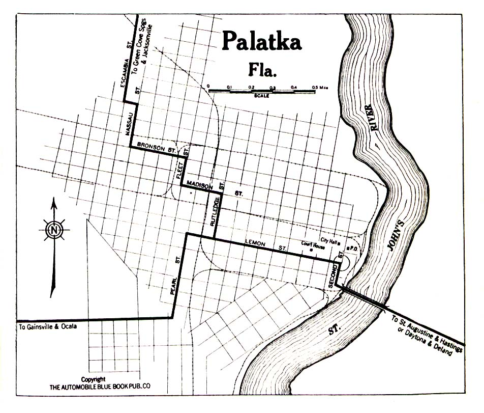 Historical Maps of U.S Cities. Palatka, Florida 1919 Automobile Blue Book (258K)
