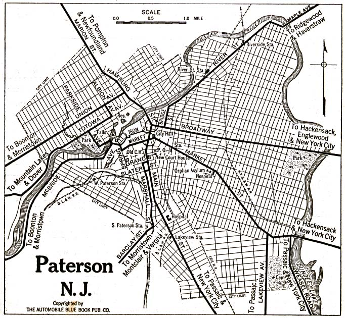 Historical Maps of U.S Cities. Paterson, New Jersey 1920 Automobile Blue Book (195K)