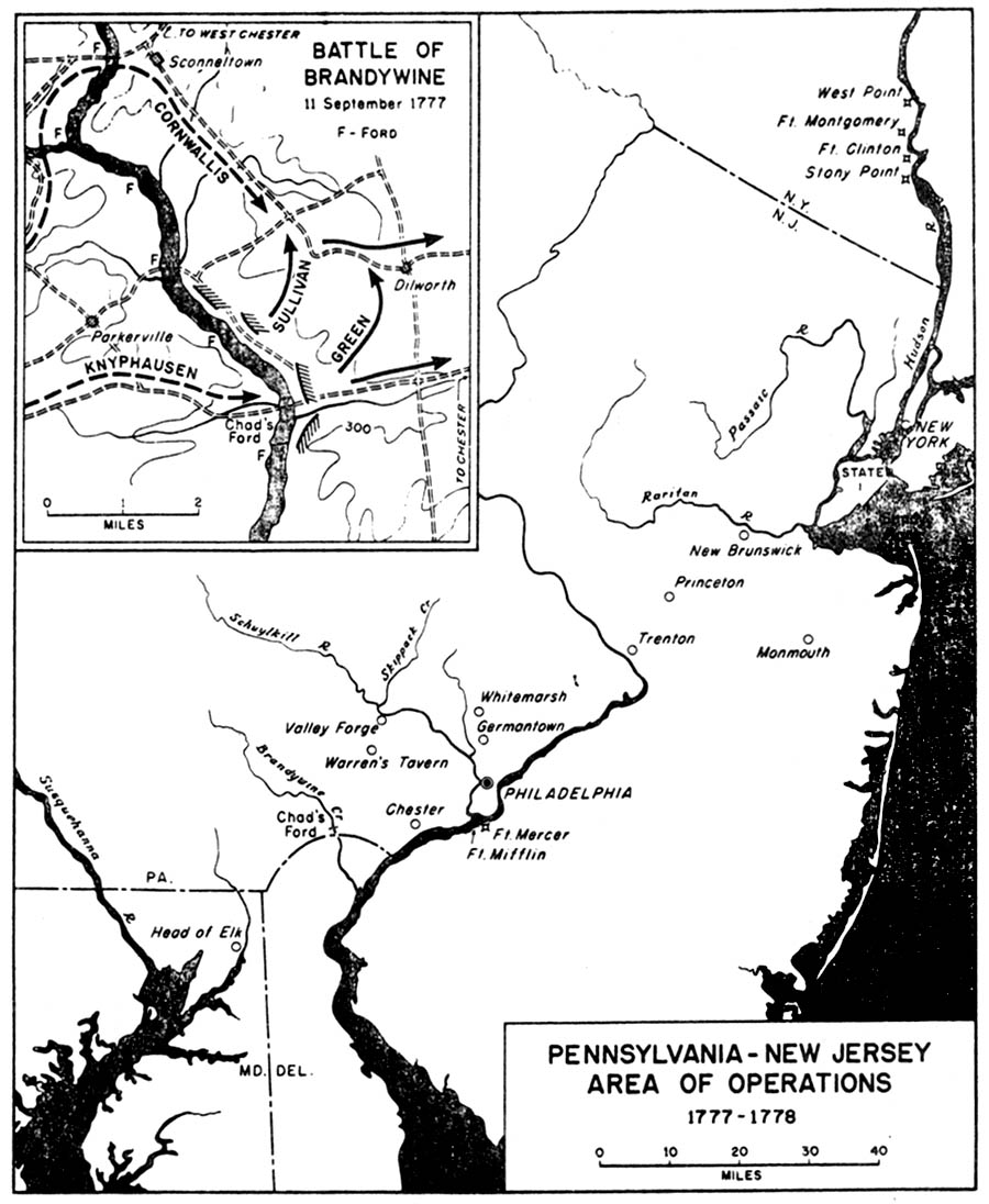 Historical Maps of United States. 1777-1778 - Pennsylvania-New Jersey Area of Operations 1777-1778 (194K) Inset: The Battle of Brandywine 11 September 1777