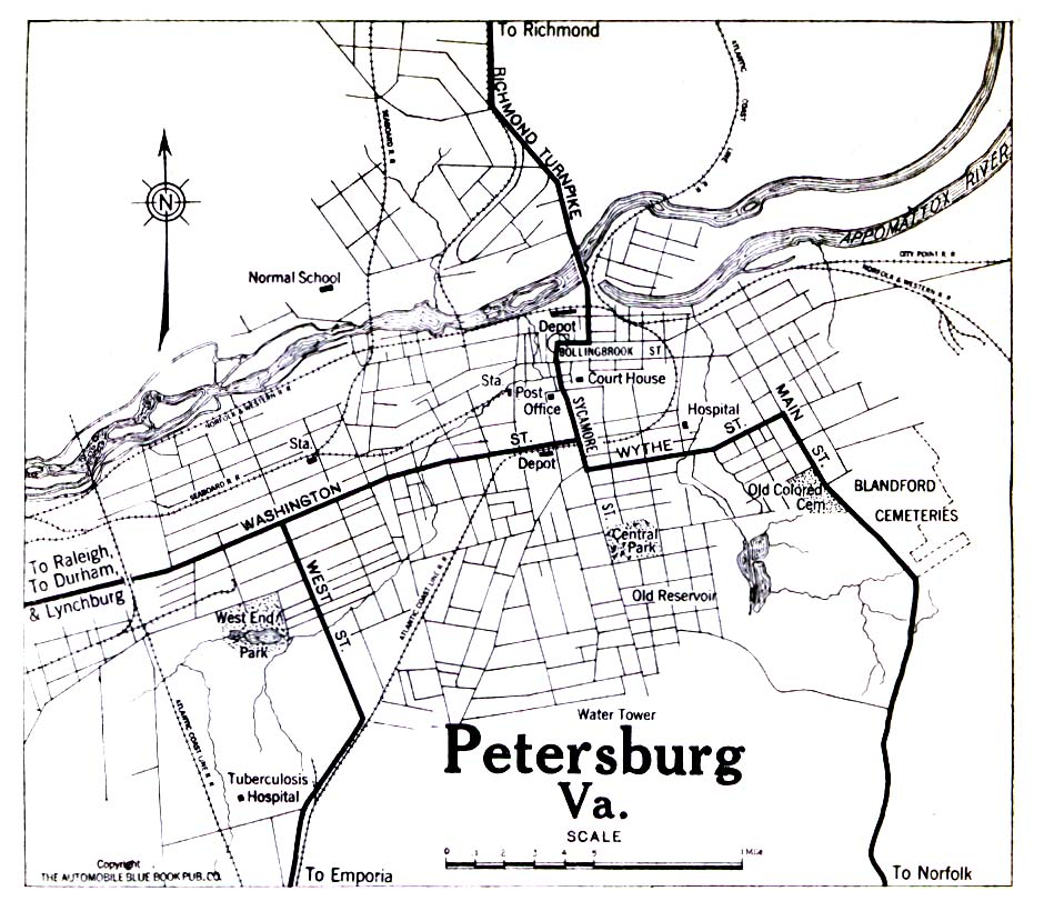 Historical Maps of U.S Cities. Petersburg, Virginia 1919 Automobile Blue Book (258K)