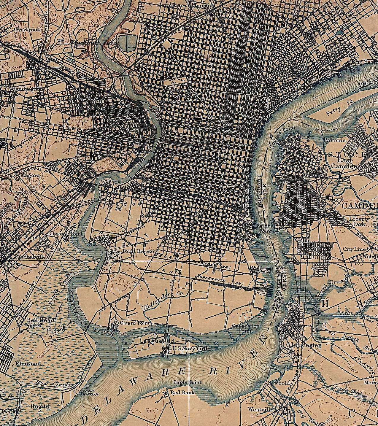 Historical Maps of U.S Cities. Philadelphia, Pennsylvania 1898 U.S. Geological Survey (1,029K)
