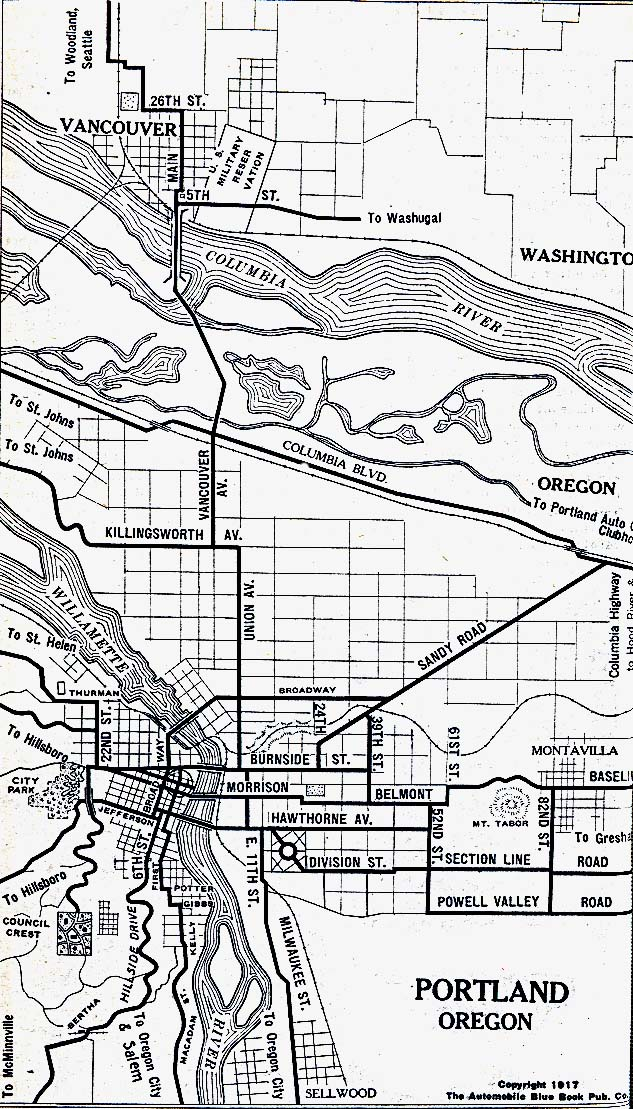 Historical Maps of U.S Cities. Portland, Oregon 1917 Automobile Blue Book (264K)