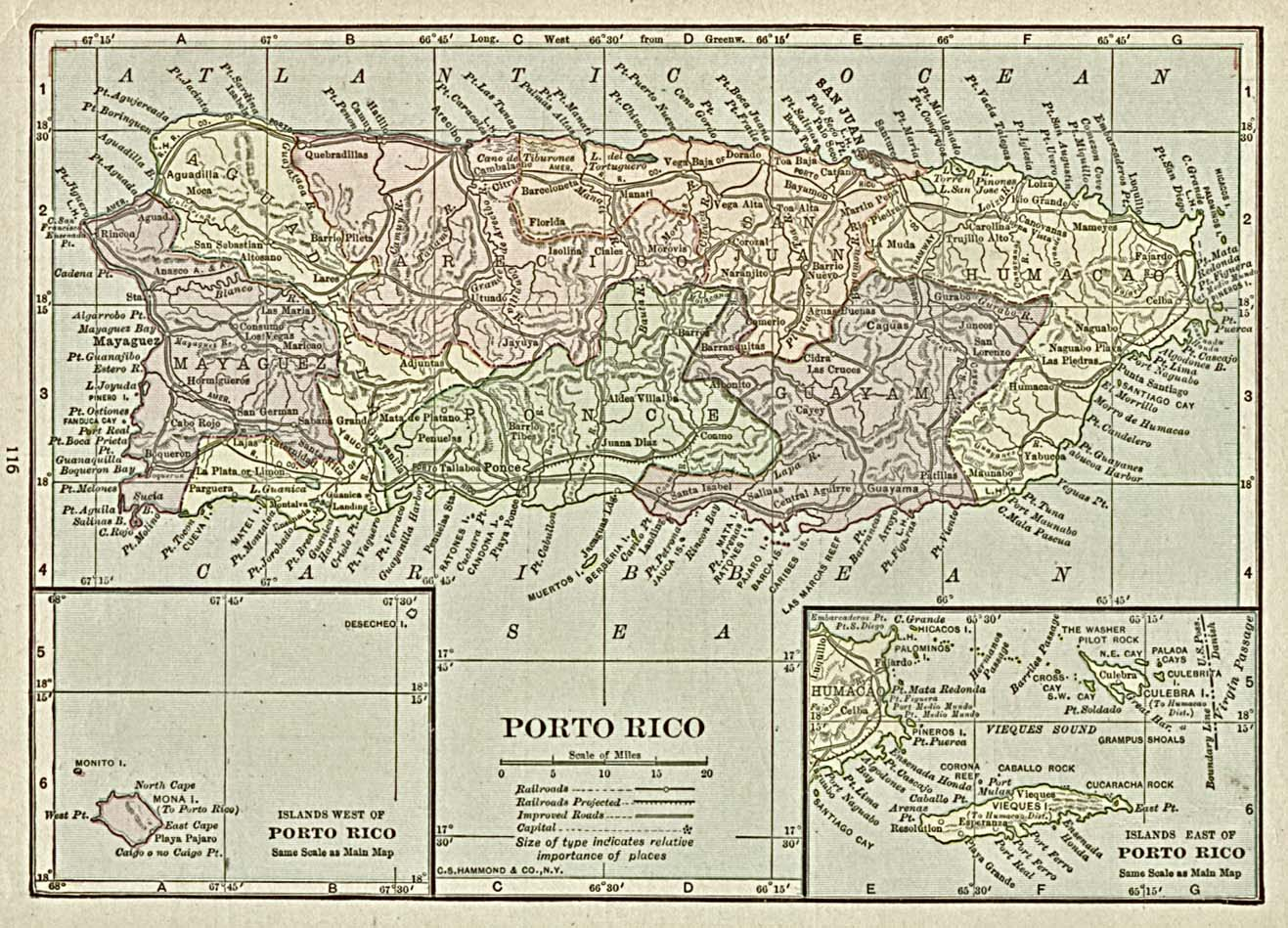 Puerto Rico Maps PerryCastañeda Map Collection UT Library Online - 1920 us road map