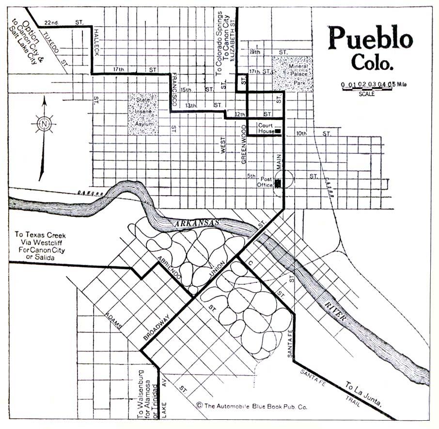 Historical Maps of U.S Cities. Pueblo, Colorado 1920 Automobile Blue Book (176K)