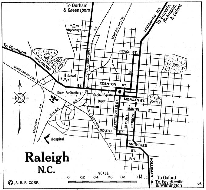 Historical Maps of U.S Cities. Raleigh, North Carolina 1920 Automobile Blue Book (137K)