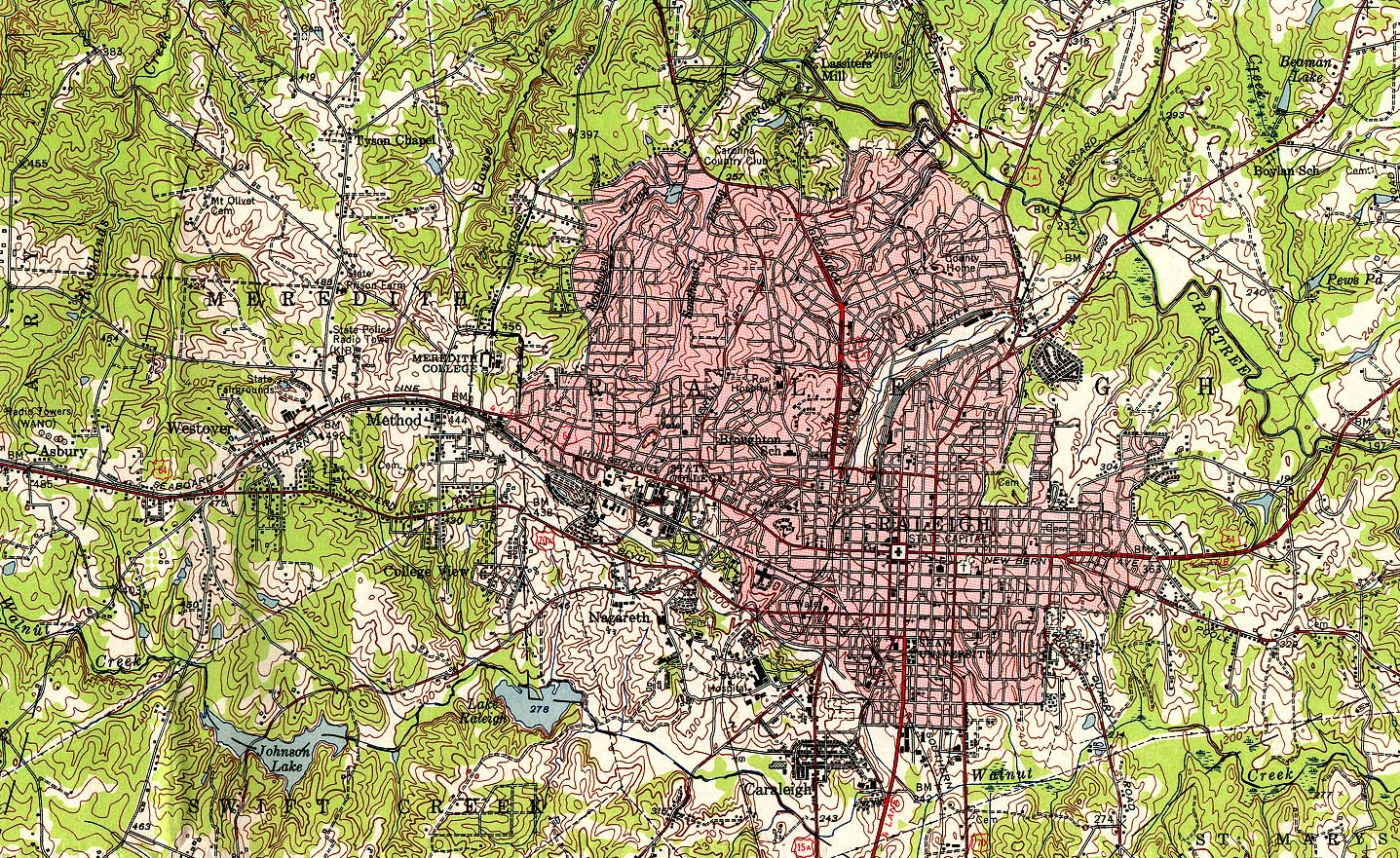 Historical Maps of U.S Cities. Raleigh, North Carolina 1951 Original Scale 1:62,500 U.S. Geological Survey 1951 (839K)