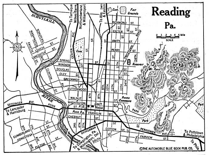 Historical Maps of U.S Cities. Reading, Pennsylvania 1920 Automobile Blue Book (156K)