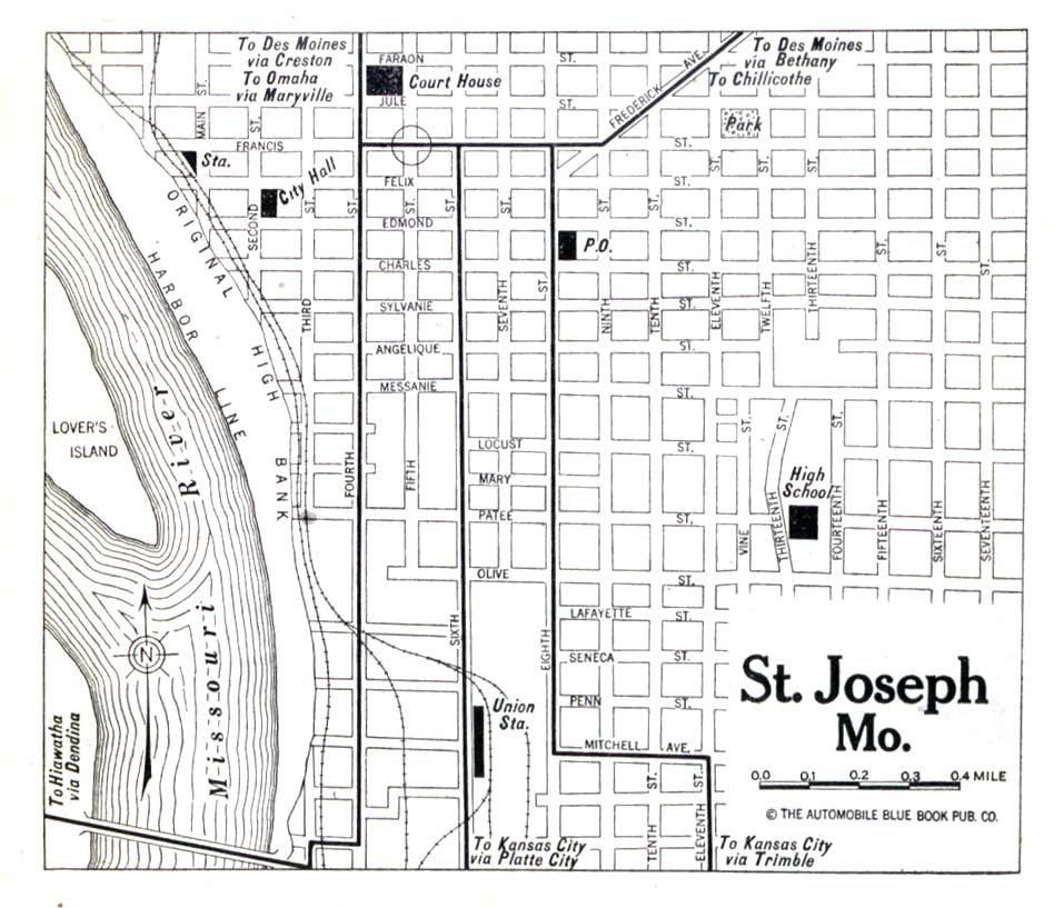 Historical Maps of U.S Cities. Saint Joseph, Missouri 1920 Automobile Blue Book (150K)