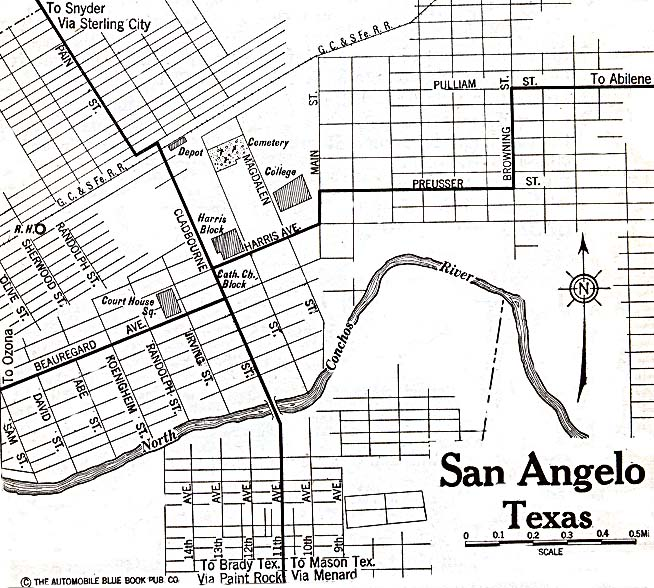Historical Maps of U.S Cities. San Angelo, Texas 1920 Automobile Blue Book (156K)