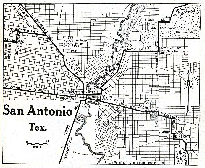 Historical Maps of U.S Cities. San Antonio, Texas 1920 Automobile Blue Book (195K)