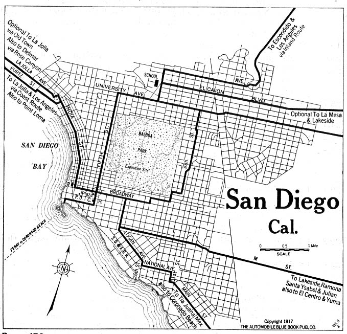 Historical Maps of U.S Cities. San Diego, California 1917 Automobile Blue Book (153K)
