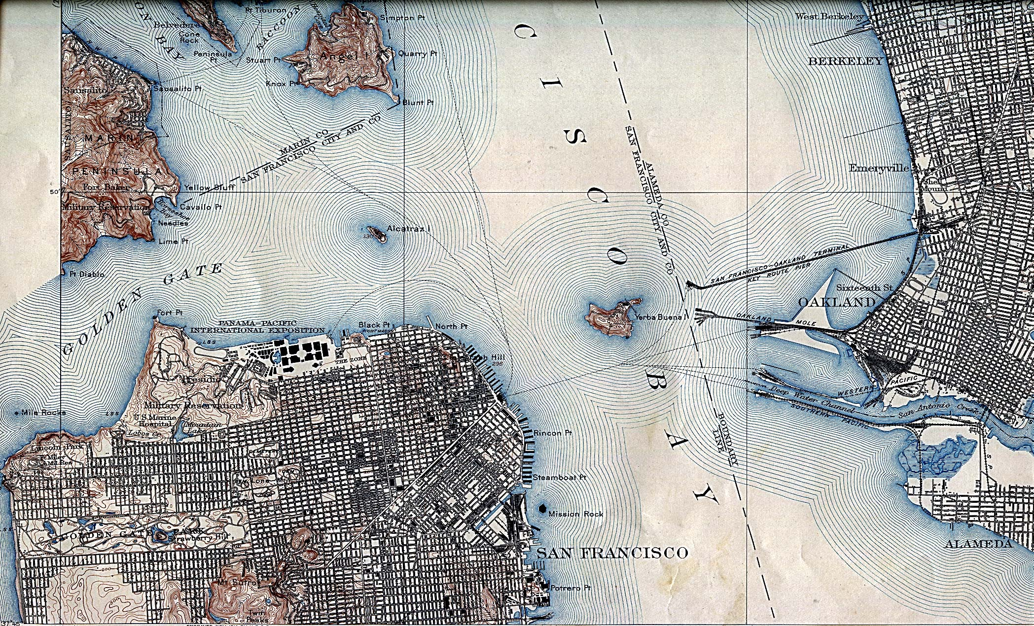 Historical Maps of U.S Cities. San Francisco, California 1915 U.S. Geological Survey (1,403K)
