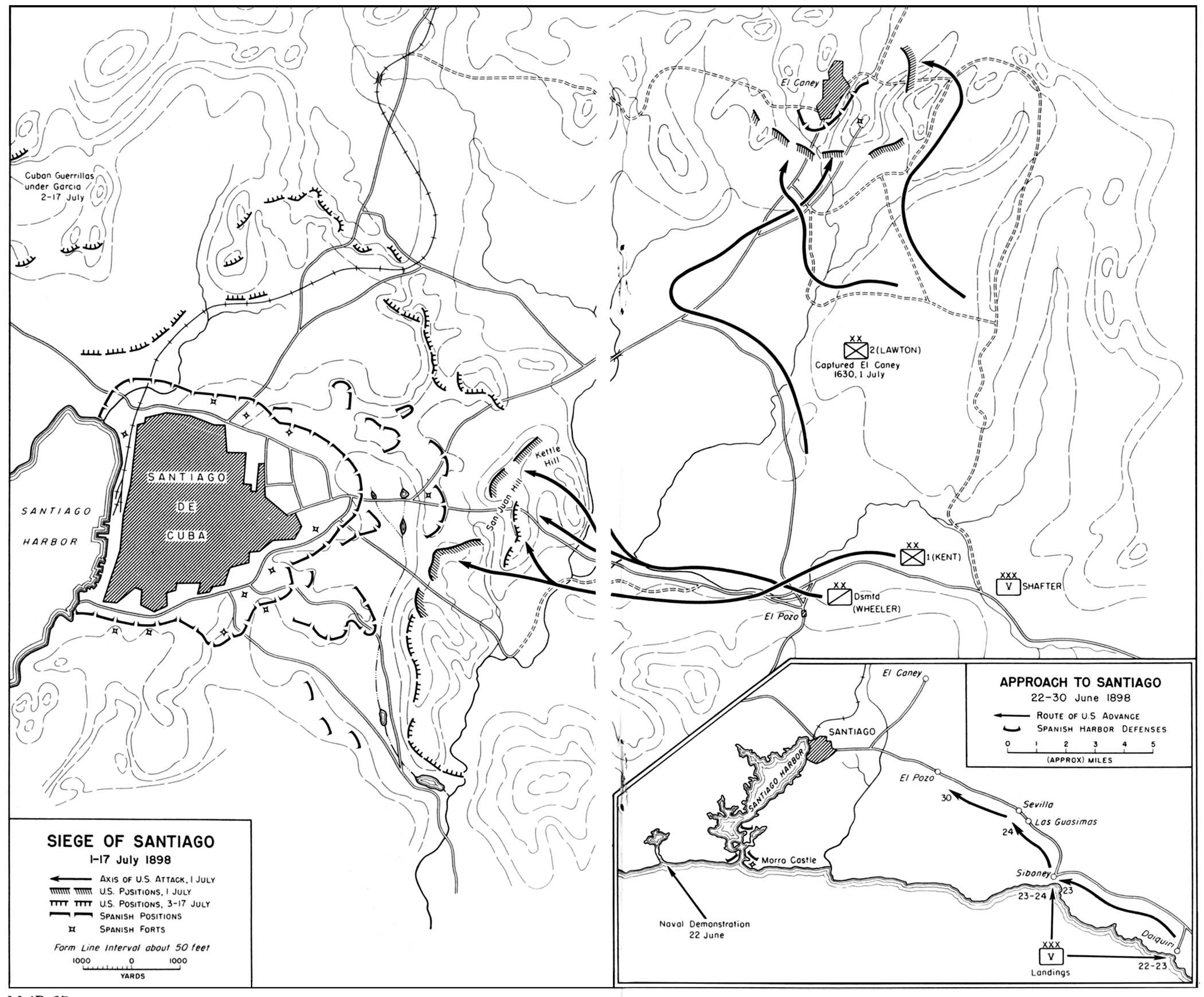 Historical Maps of United States. 1898 - Siege of Santiago 1-17 July 1898 (452K) Inset: Approach to Santiago 22-30 June 1898